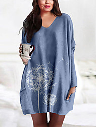 cheap -Women's Plus Size Dress T Shirt Dress Tee Dress Short Mini Dress Long Sleeve Print Pocket Print Casual Spring &  Fall