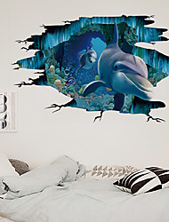 cheap -3D Broken Wall Dolphin Undersea World Children's Room Home Background Decoration Can Be Removed