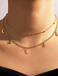 cheap -Women's Necklace Layered Necklace Double Layered Moon Star Simple Fashion Cute Alloy Gold 35 cm Necklace Jewelry 1pc For Gift Prom Birthday Party Beach / Charm Necklace