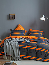 cheap -Duvet cover set with zipper with orange and dark grey stripes pattern, soft, natural, breathable, durable, hypoallergenic