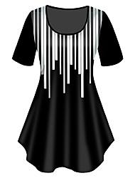 cheap -Women's Plus Size Tops T shirt Print Graphic Large Size Crewneck Short Sleeve Basic Big Size XL XXL 3XL 4XL 5XL Black
