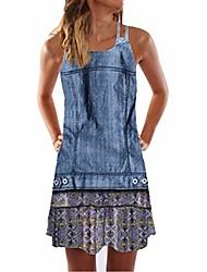 cheap -hhmei vintage boho women summer sleeveless beach printed short mini dress | spring elegant lace 50s empire waist knee length dusty pockets sleeves 3/4 night out (blue l)