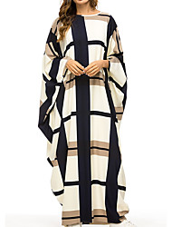 cheap -Women's Kaftan Dress Maxi long Dress Beige Long Sleeve Color Block Fall Spring & Summer Round Neck Casual Batwing Sleeve 2021 One-Size / Plus Size