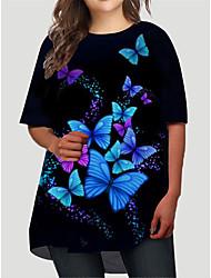 cheap -Women's Plus Size Dress T Shirt Dress Tee Dress Short Mini Dress Half Sleeve Graphic Butterfly Print Basic Fall Spring Summer Black XL XXL 3XL 4XL 5XL