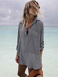 cheap -people cotton printed striped chest straps beach anti-sneak shirt dress seaside vacation bikini blouse