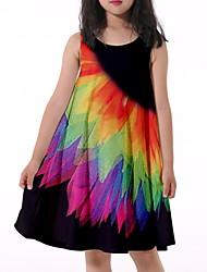 cheap -Kids Little Girls' Dress Graphic Print Black Knee-length Sleeveless Flower Active Dresses Summer Regular Fit 5-12 Years
