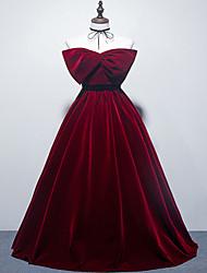 cheap -Ball Gown Elegant Vintage Engagement Formal Evening Dress Strapless Sleeveless Floor Length Velvet with Bow(s) 2021