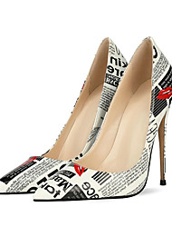 cheap -Women's Heels Stiletto Heel Pointed Toe Patent Leather Slogan Black / White