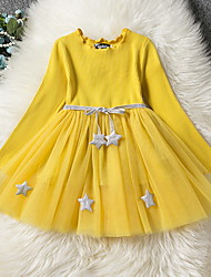 cheap -Kids Little Girls' Dress Solid Colored Print Yellow Blushing Pink Navy Blue Knee-length Long Sleeve Active Dresses Summer Regular Fit 5-12 Years