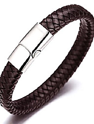 """cheap -halukakah ● solo ● men's genuine leather bracelet classic style titanium clasp with magnets 8.46""""(21.5cm) with free giftbox(brown)"""