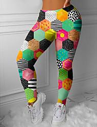 cheap -Women's Colorful Fashion Comfort Leisure Sports Weekend Leggings Pants Patchwork Geometric Pattern Ankle-Length Sporty Elastic Waist Print Green