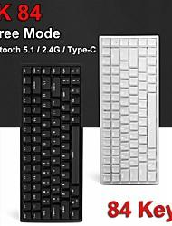 cheap -RK84 84 Keys Bluetooth 51 / 24G / Type-C Three Mode Mechanical Gaming Keyboard Cherry MX Switches White Blacklight USB HUB Port