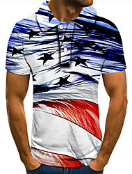 cheap -Men's Golf Shirt Tennis Shirt 3D Print Graphic Prints Star Button-Down Short Sleeve Street Tops Casual Fashion Cool Blue / Sports