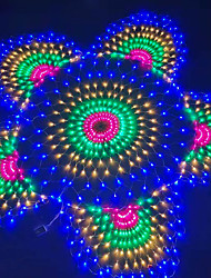cheap -3 Peacock Mesh Net 3.5M LED String Lights Waterproof Flexible Net Home Curtain String Colorful Lighting IP65 for Outdoor Patio Yard Lawn Tree Decor Lamp Holiday Light with EU US Plug