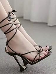 cheap -Women's Heels Stiletto Heel Square Toe PU Solid Colored Almond White Black