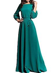 cheap -A-Line Minimalist Elegant Wedding Guest Prom Dress Jewel Neck 3/4-Length Sleeve Floor Length Chiffon with Bow(s) 2021
