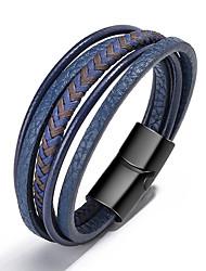 cheap -multi-layer men's leather bracelet, creative ethnic style simple magnetic buckle bracelet,