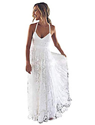 cheap -women's lace wedding dress boho sexy criss cross back side slit beach wedding gown white 12