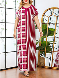 cheap -Women's Plus Size Dresses Shift Dress Maxi long Dress Short Sleeve Striped Print V Neck Casual Spring & Summer Red L XL XXL 3XL / Loose