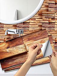cheap -6 PCS Imitation Wood Grain Ceramic Tile Kitchen Bathroom Self-adhesive Paper Waterproof And Oil-proof Amber Wood Grain Sheet Self-adhesive Decorative Wall Sticker