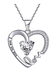 cheap -peach heart lettering pendant i love you mom mother's day gift necklace fashion