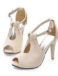 cheap -Women's Heels Pumps Faux Leather Solid Colored White Black Beige