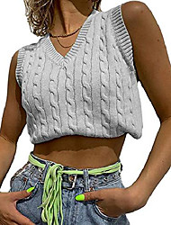 cheap -argyle plaid sweater vest women knitted preppy style sleeveless crop sweaters tank tops gray medium