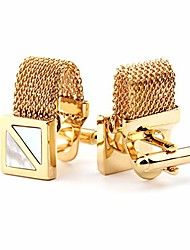 cheap -evehk mens cufflinks with chain,stone and shiny gold tone shirt accessories - party gifts for young men