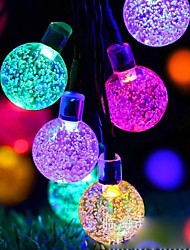 cheap -Outdoor Solar LED String Light 7M 50LEDs Bubble Ball Solar Outdoor Waterproof String Lights Warm White Colorful White Fairy Lights String Christmas Wedding Party Garden Holiday Decoration Lights 1Set