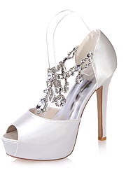 cheap -Women's Wedding Shoes Stiletto Heel Peep Toe Satin Rhinestone Solid Colored White Black Purple