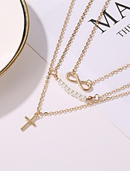 cheap -women's 8 word pearl multi-layer pendant necklace cross clavicle chain jewelry