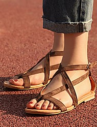 cheap -Women's Flats Flat Heel Open Toe PU Solid Colored Brown