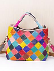 cheap -guangzhou wholesale leather cowhide handbags colorful plaid hit color fashion bucket-type women's portable messenger bag