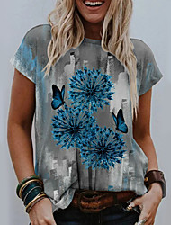 cheap -Women's Floral Theme T shirt Graphic Dandelion Print Round Neck Tops Basic Basic Top Blue Red