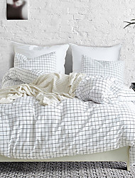 cheap -Duvet cover set white with zipper with plaid geometric pattern, ultra soft comfortable and breathable durable