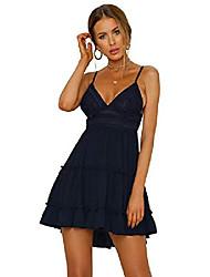 cheap -ebossy women's v neck spaghetti strap ruffle backless lace a-line swing tiered short dress (small, navy)