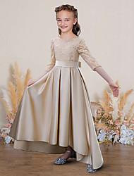 cheap -A-Line Jewel Neck Floor Length Lace / Satin Junior Bridesmaid Dress with Sash / Ribbon / Pleats