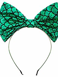 cheap -cute big bowknot mermaid headband for little girls dress up birthday party,halloween,christmas(green)