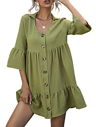 cheap -amazon aliexpress solid color lapel five-point sleeve loose dress babydoll shirt 2021 new summer women