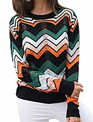 cheap -women crew neck sweater, long sleeve color block hollow out lightweight knit sweater jumper tops green