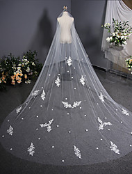 cheap -One-tier Lace / Vintage Inspired Wedding Veil Chapel Veils with Scattered Bead Floral Motif Style / Solid 137.8 in (350cm) Lace / Tulle