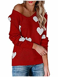 cheap -dosoop womens pullover sweaters long sleeve round neck heart stitching knit sweaters blouse tops