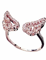 cheap -sparkling angel wing cubic zirconia ring rose gold plated rings, adjustable