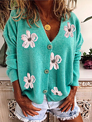 cheap -Women's Knitted Floral Cardigan Long Sleeve Sweater Cardigans V Neck Winter Spring Red Green Gray
