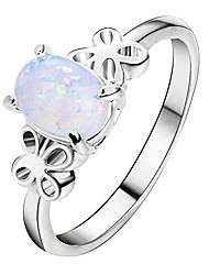 cheap -ddlbiz clearance new exquisite women's silver ring oval cut fire opal diamond band rings (6#)