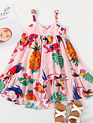 cheap -Kids Little Girls' Dress Tropical Leaf Fruit Animal Holiday Ruffle Print As Picture Knee-length Sleeveless Flower Sweet Dresses Children's Day Summer Loose 2-6 Years