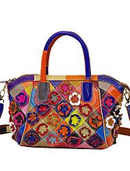cheap -Women's Bags Leather Cowhide Top Handle Bag Zipper Vintage Event / Party Retro Handbags Rainbow