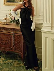 cheap -Sheath / Column Beautiful Back Vintage Engagement Formal Evening Dress Halter Neck Sleeveless Ankle Length Satin with Sleek Bow(s) 2021