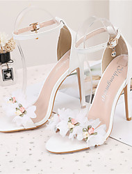 cheap -Women's Wedding Shoes Pumps Open Toe Wedding Sandals PU Satin Flower Buckle Lace Solid Colored White