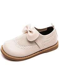 cheap -Girls' Flats Bootie Cowhide 2021 Big Kids(7years +) Daily Walking Shoes Bowknot Khaki Black Beige Spring / Booties / Ankle Boots